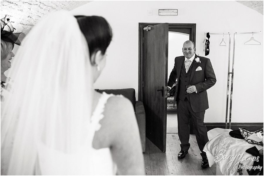 Candid photos of the wonderful reaction of the Father of the Bride seeing his daughter at Hawkesyard Estate in Rugeley by Rugeley Wedding Photographer Barry James