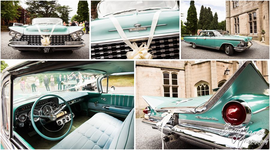 Buick wedding car at Hawkesyard Estate in Rugeley by Rugeley Wedding Photographer Barry James