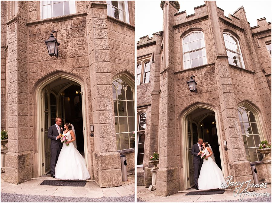 Beautiful photographs of the Bride and Groom in the staggering doorway at Hawkesyard Estate in Rugeley by Rugeley Wedding Photographer Barry James