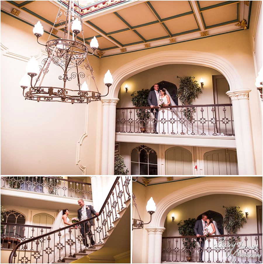 Portraits on the staircase and landing of Hawkesyard Estate in Rugeley by Rugeley Wedding Photographer Barry James