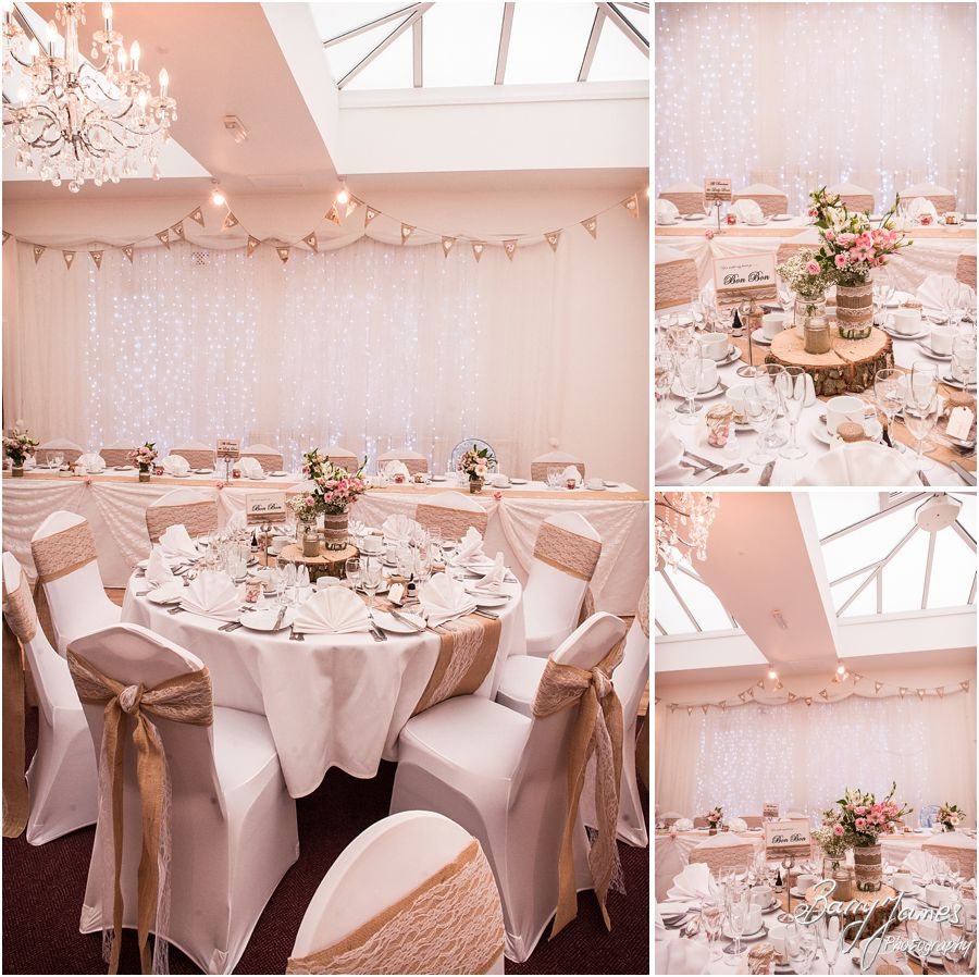 Elegant and classy touches making the wedding breakfast setting simply perfect at Hawkesyard Estate in Rugeley by Rugeley Wedding Photographer Barry James