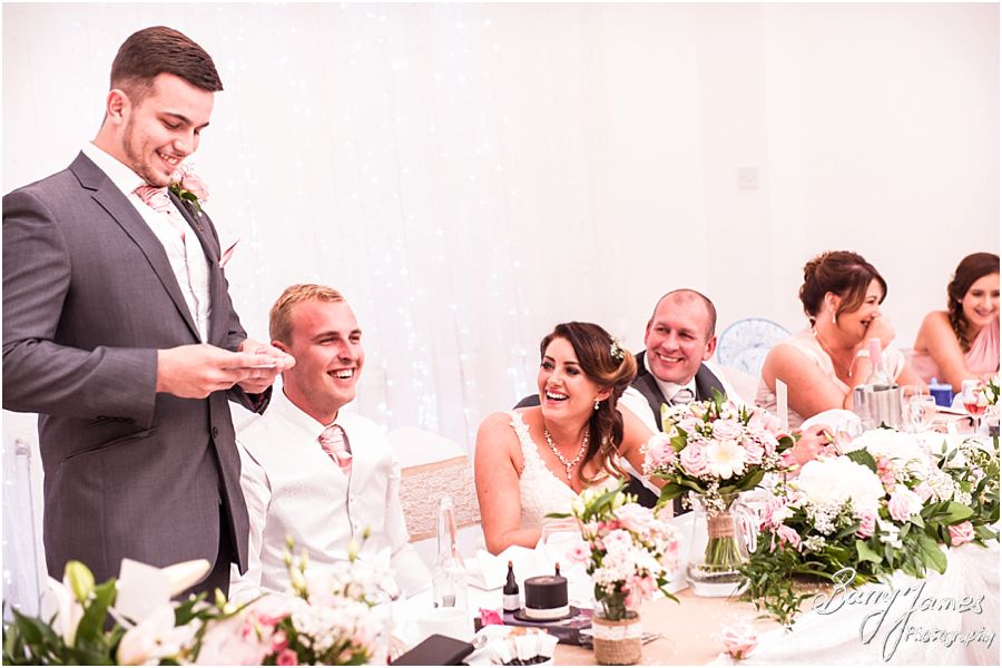 Candid photographs capturing the wedding speeches and the fabulous guest reactions at Hawkesyard Estate in Rugeley by Rugeley Wedding Photographer Barry James