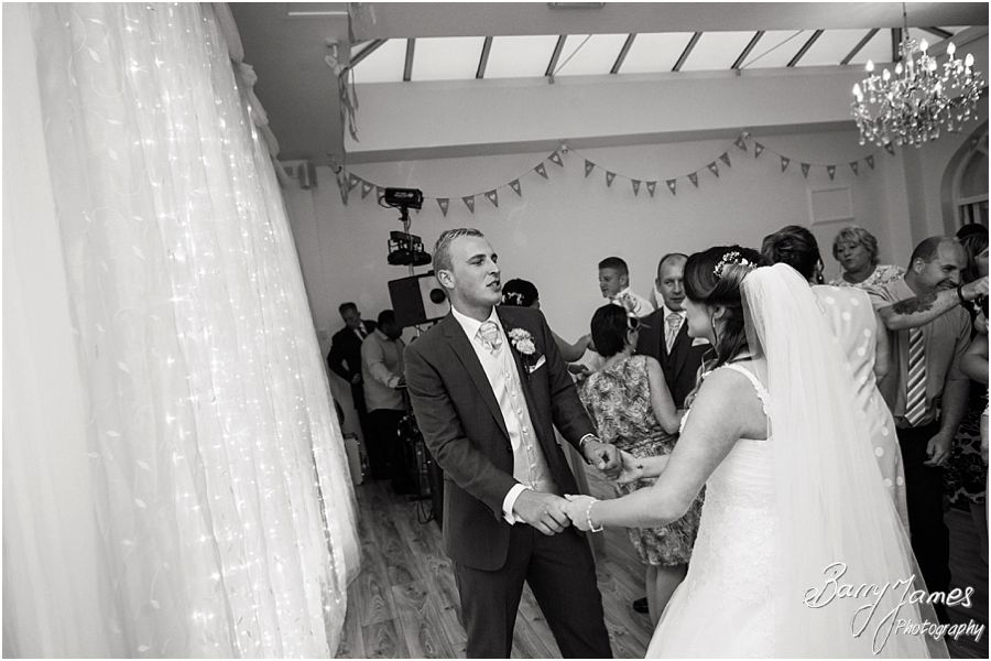 Creative evening photography of the first dance and the party at Hawkesyard Estate in Rugeley by Rugeley Wedding Photographer Barry James