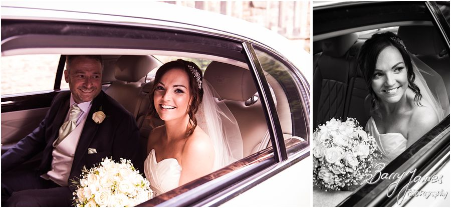 Photographs of the Brides arrivals in the stunning Bentley wedding car at St Marys Church Hurst Hill in West Midlands by West Midlands Wedding Photographer Barry James