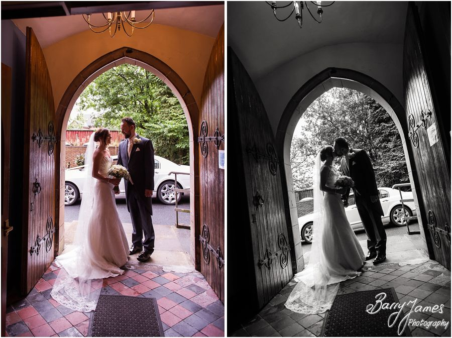 Beautiful traditional photographs in the church doorway at St Marys Church Hurst Hill in West Midlands by West Midlands Wedding Photographer Barry James