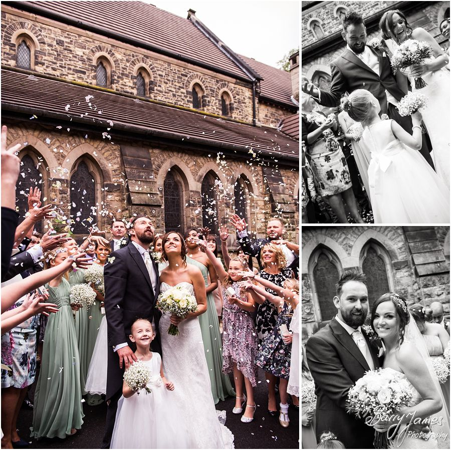 Confetti fun at St Marys Church Hurst Hill in West Midlands by West Midlands Wedding Photographer Barry James