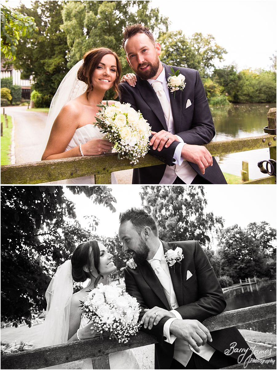 Beautiful relaxed photographs of the Bride and Groom around the grounds of The Moat House in Acton Trussell by West Midlands Wedding Photographer Barry James