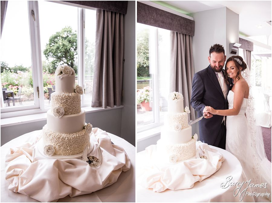 Stunning wedding cake from Cakeland at The Moat House in Acton Trussell by West Midlands Wedding Photographer Barry James
