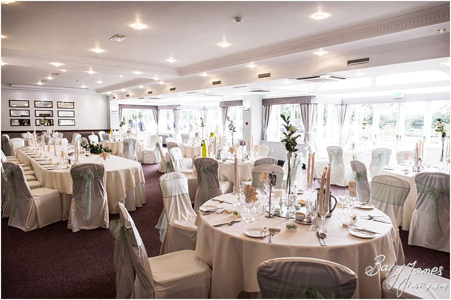 Beautiful styling of Acton Suite for the wedding breakfast at The Moat House in Acton Trussell by West Midlands Wedding Photographer Barry James