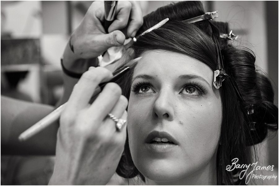 Reportage photos of the bridal hair and makeup at Netherstowe House in Lichfield by Lichfield Wedding Photographer Barry James
