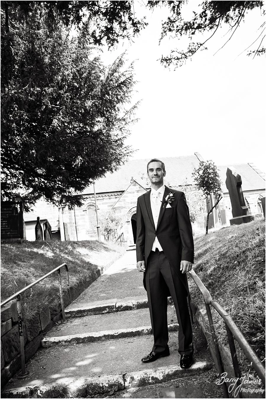 Contemporary photos of the groomsmen at St John the Baptist in Armitage by Rugeley Wedding Photographer Barry James