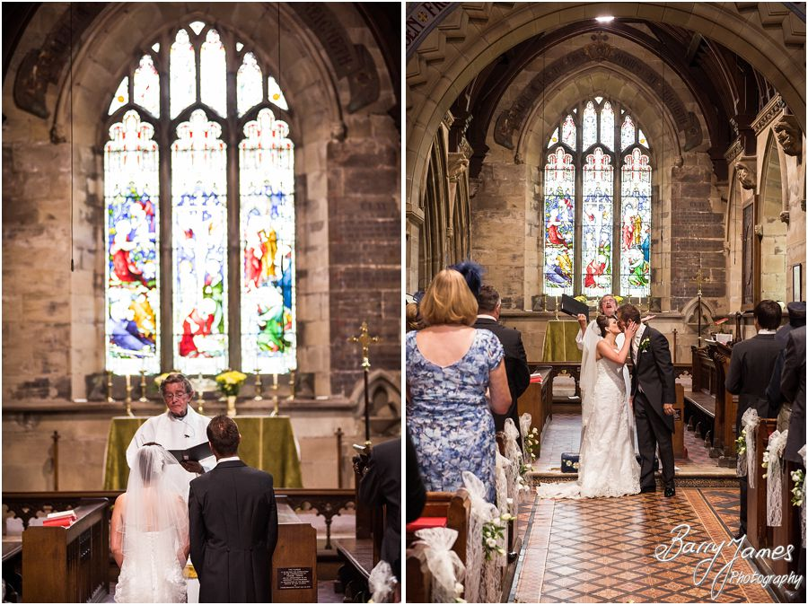 Two photographers provide the perfect coverage of the wedding ceremony at St John the Baptist in Armitage by Rugeley Wedding Photographer Barry James