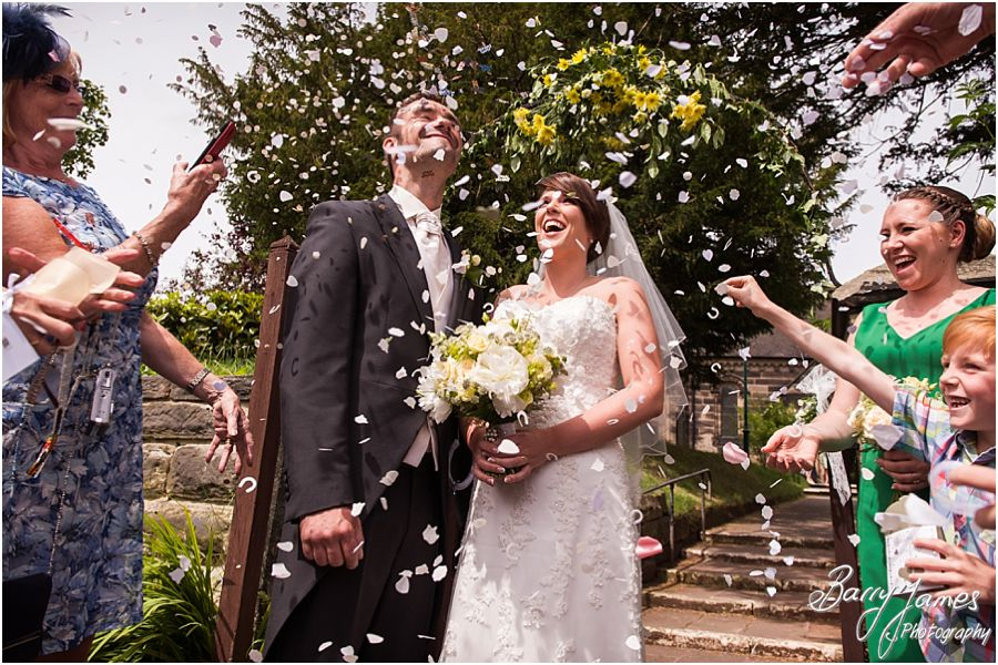 Confetti photographs at St John the Baptist in Armitage by Rugeley Wedding Photographer Barry James