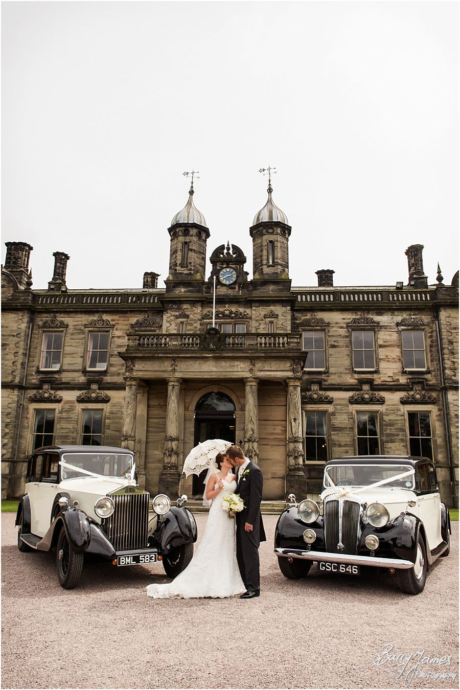 Beautiful wedding transport from Aarons Cars at Sandon Hall in Staffordshire by Stafford Wedding Photographer Barry James