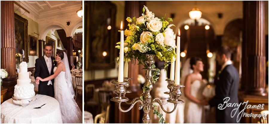 Stunning personal touches make the wedding breakfast decoration unique at Sandon Hall in Staffordshire by Recommended Wedding Photographer Barry James
