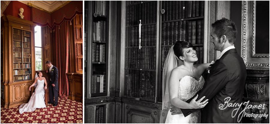 The library provides the most elegant setting for wedding photographs at Sandon Hall in Staffordshire by Recommended Wedding Photographer Barry James