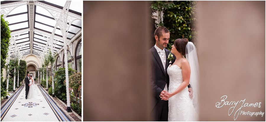 Creative portraits of the Bride and Groom in the conservatory at Sandon Hall in Staffordshire by Recommended Wedding Photographer Barry James