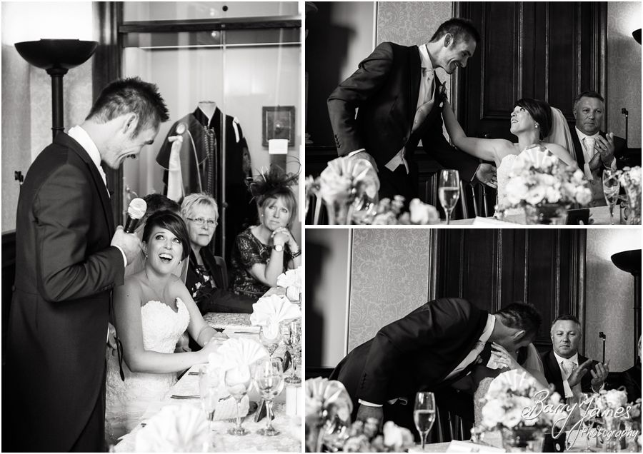 Photos that show the emotion in the Grooms speech at Sandon Hall in Staffordshire by Recommended Wedding Photographer Barry James