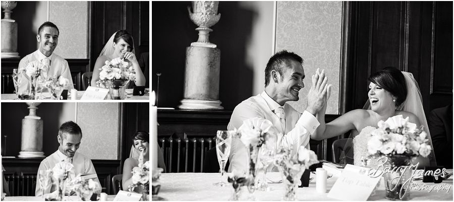 Creative candid photos of the Best Mans speech show the fabulous reactions on the faces of the wedding party at Sandon Hall in Staffordshire by Recommended Wedding Photographer Barry James