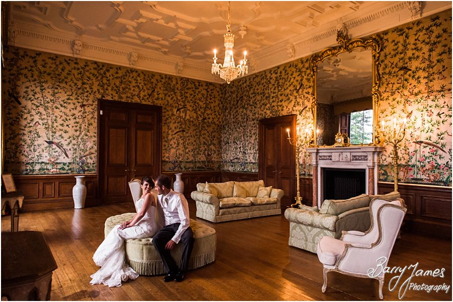 Elegant portraits in the sitting room at Sandon Hall in Staffordshire by Recommended Wedding Photographer Barry James