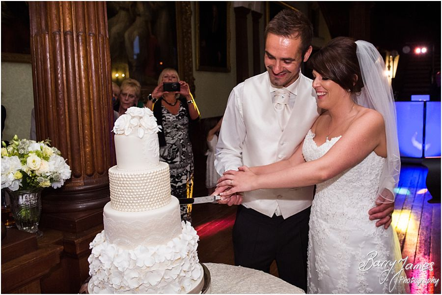 Beautiful wedding cake from Amerton Cakes at Sandon Hall in Staffordshire by Recommended Wedding Photographer Barry James