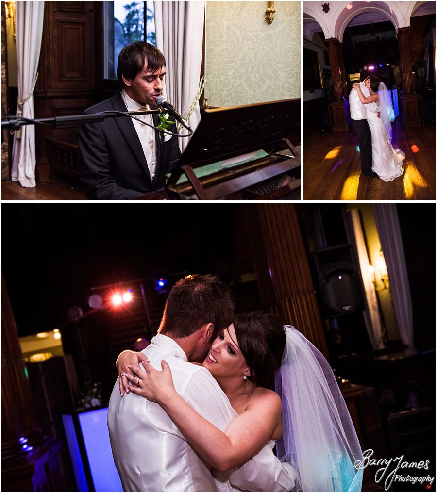 Creative photographs of the First Dance and start of the party at Sandon Hall in Staffordshire by Recommended Wedding Photographer Barry James