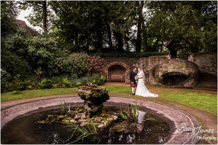 Creative elegant portraits in the beautiful sunken gardens at Moor Hall in Sutton Coldfield by Sutton Coldfield Wedding Photographer Barry James