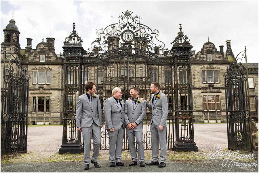 Creative contemporary portraits of the groomsmen at Sandon Hall in Stafford by Stafford Wedding Photographer Barry James