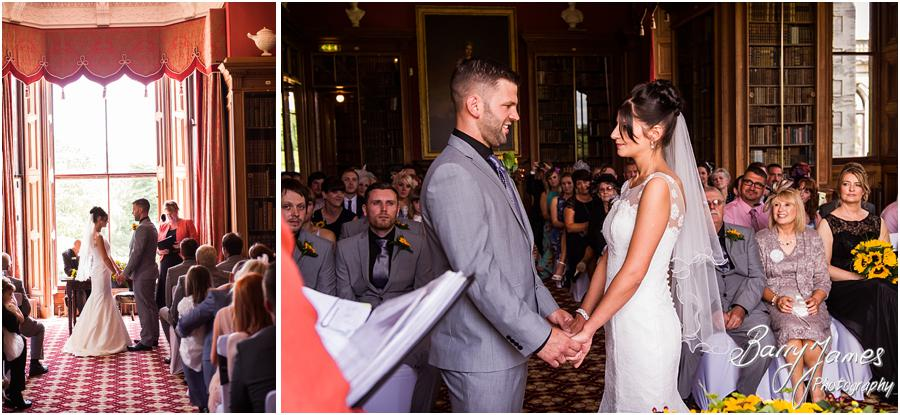 Unobtrusive wedding photography capturing the beautiful wedding ceremony at Sandon Hall in Stafford by Stafford Wedding Photographer Barry James