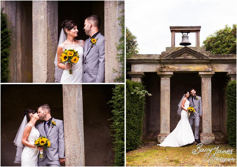 Beautiful elegant portraits of the Bride and Groom in the grounds at Sandon Hall in Stafford by Stafford Wedding Photographer Barry James