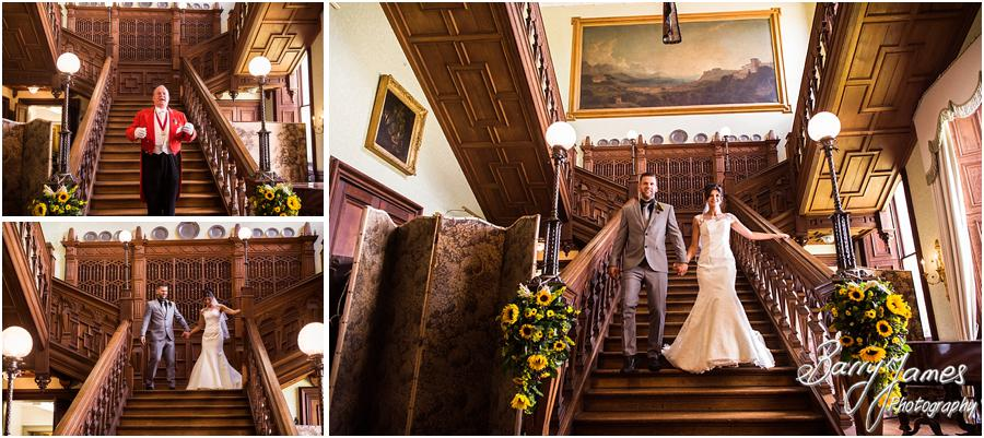 Capturing the breathtaking entrance to the wedding breakfast at Sandon Hall in Stafford by Stafford Wedding Photographer Barry James