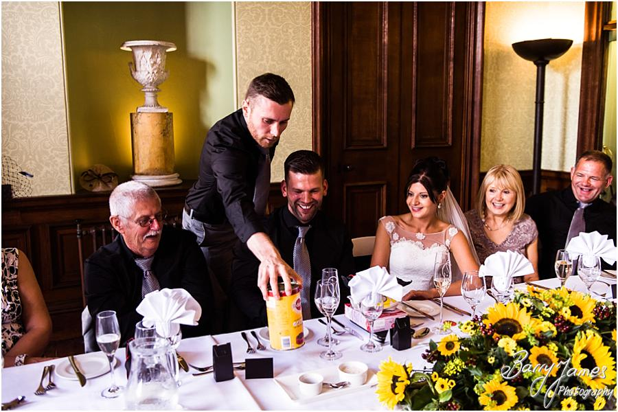 Capturing the fabulous reactions and great fun of the Best Mans speeches at Sandon Hall in Stafford by Stafford Wedding Photographer Barry James