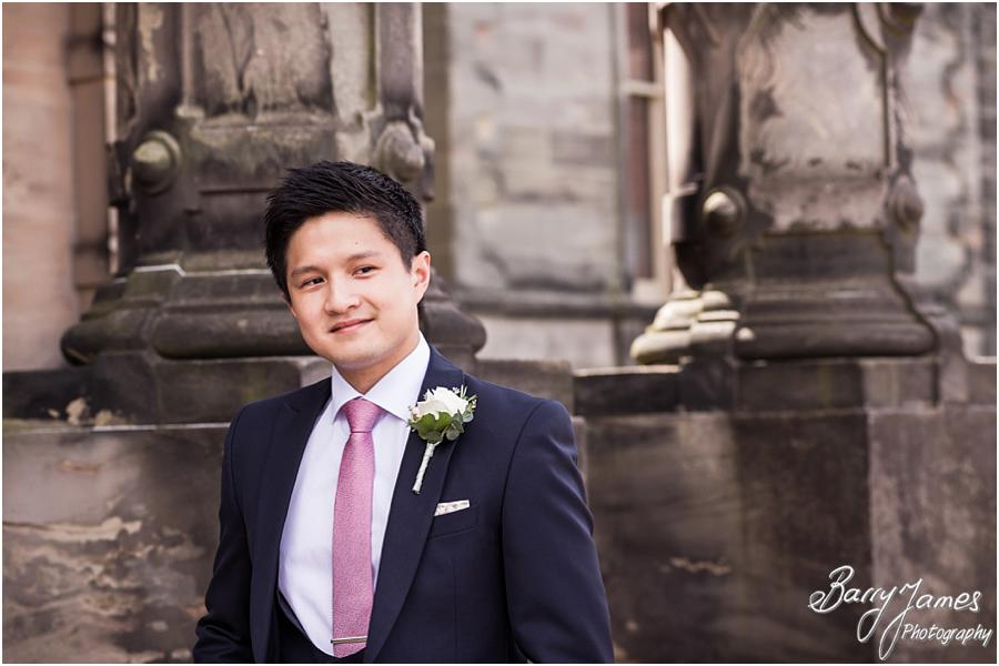 Contemporary portraits of the Groomsmen at the impressive Sandon Hall in Stafford by Stafford Wedding Photographer Barry James