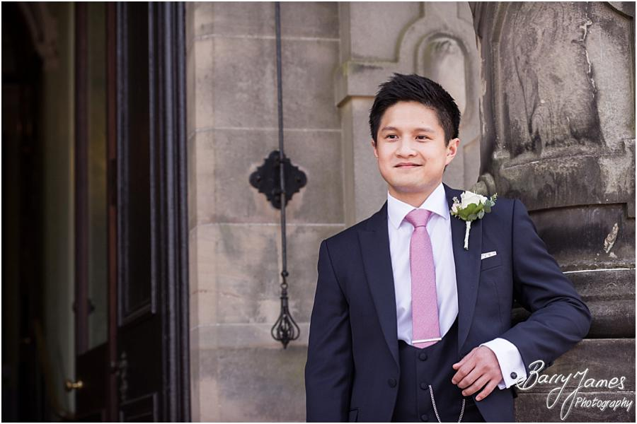 Relaxed natural photos of the Groomsmen at the impressive Sandon Hall in Stafford by Stafford Wedding Photographer Barry James
