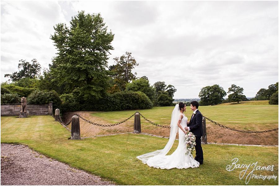 Elegant portraits on the front lawn at Sandon Hall in Stafford by Stafford Wedding Photographer Barry James
