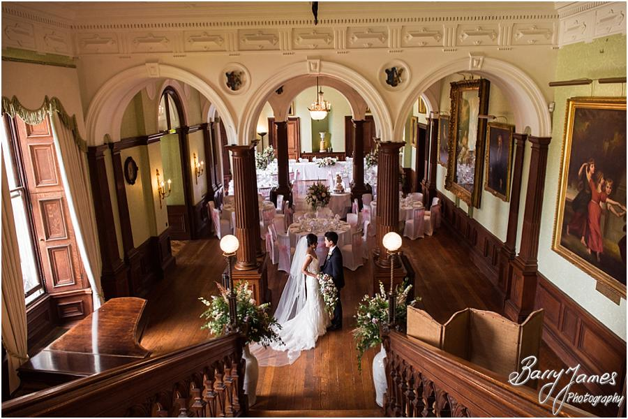 Creative Portraits On The Grand Staircase At Sandon Hall In Stafford By Wedding Photographer Barry