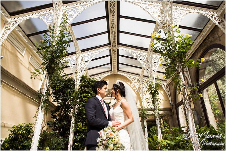 Beautiful creative portraits in the orangery at Sandon Hall in Stafford by Stafford Wedding Photographer Barry James
