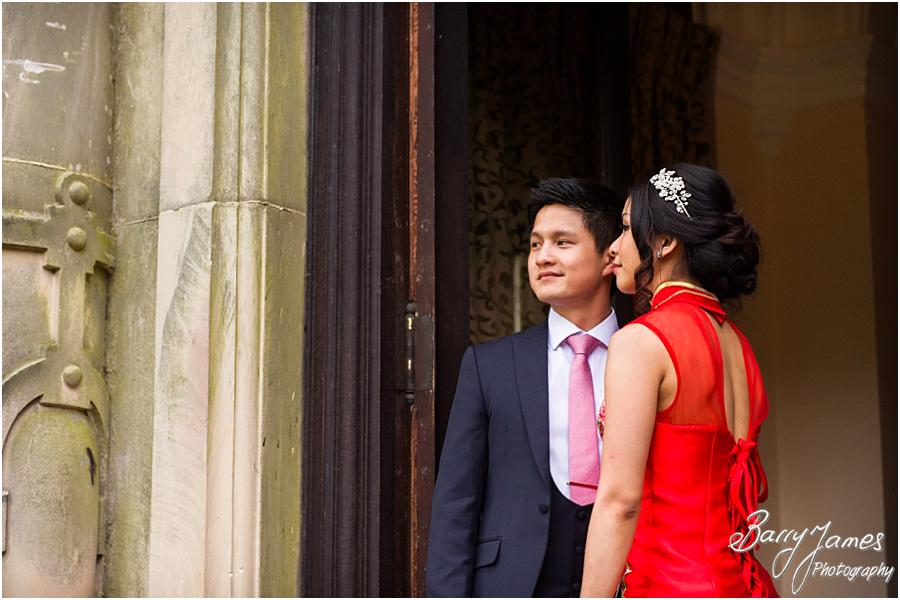 Elegant portraits in the buildings characterful surroundings at Sandon Hall in Stafford by Stafford Wedding Photographer Barry James