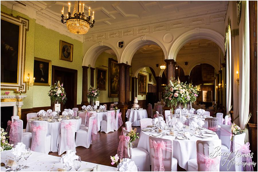 Beautiful styling for the wedding breakfast at Sandon Hall in Stafford by Stafford Wedding Photographer Barry James