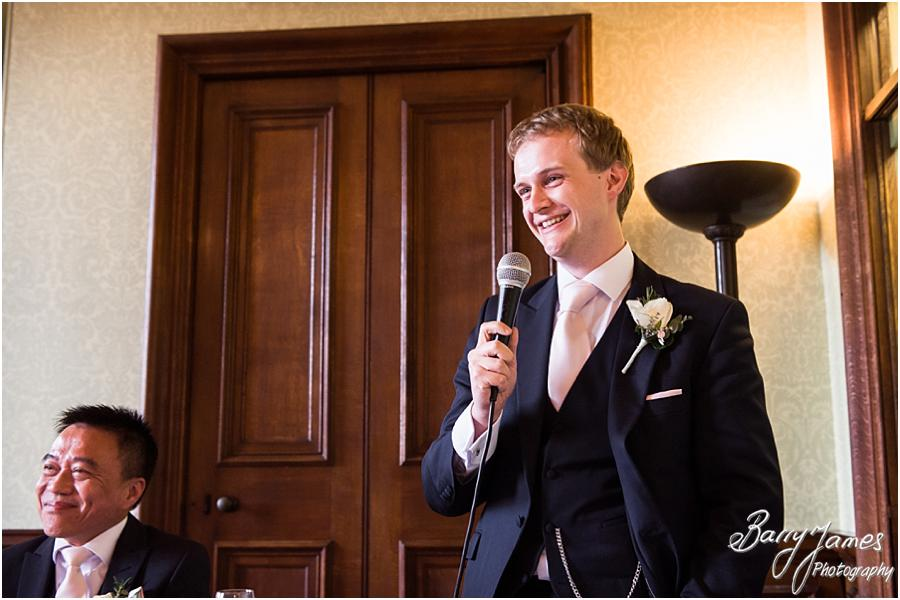 Candid photographs of the fabulous speeches and great reactions at Sandon Hall in Stafford by Stafford Wedding Photographer Barry James