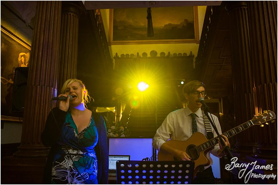 Wonderful live music for evening reception at Sandon Hall in Stafford by Stafford Wedding Photographer Barry James