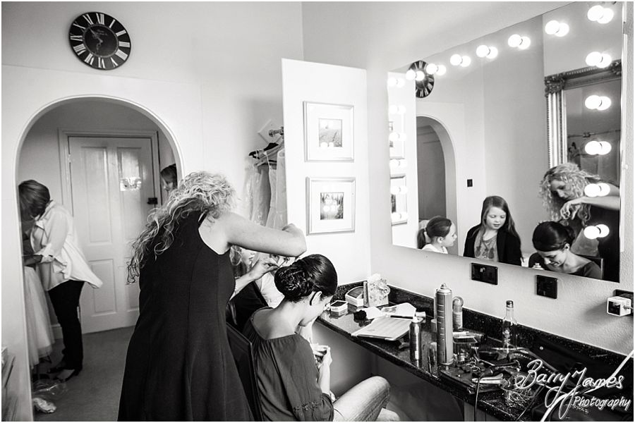 Candid photos of the bridal preparations at The Upper House in Barlaston by Stone Wedding Photographer Barry James