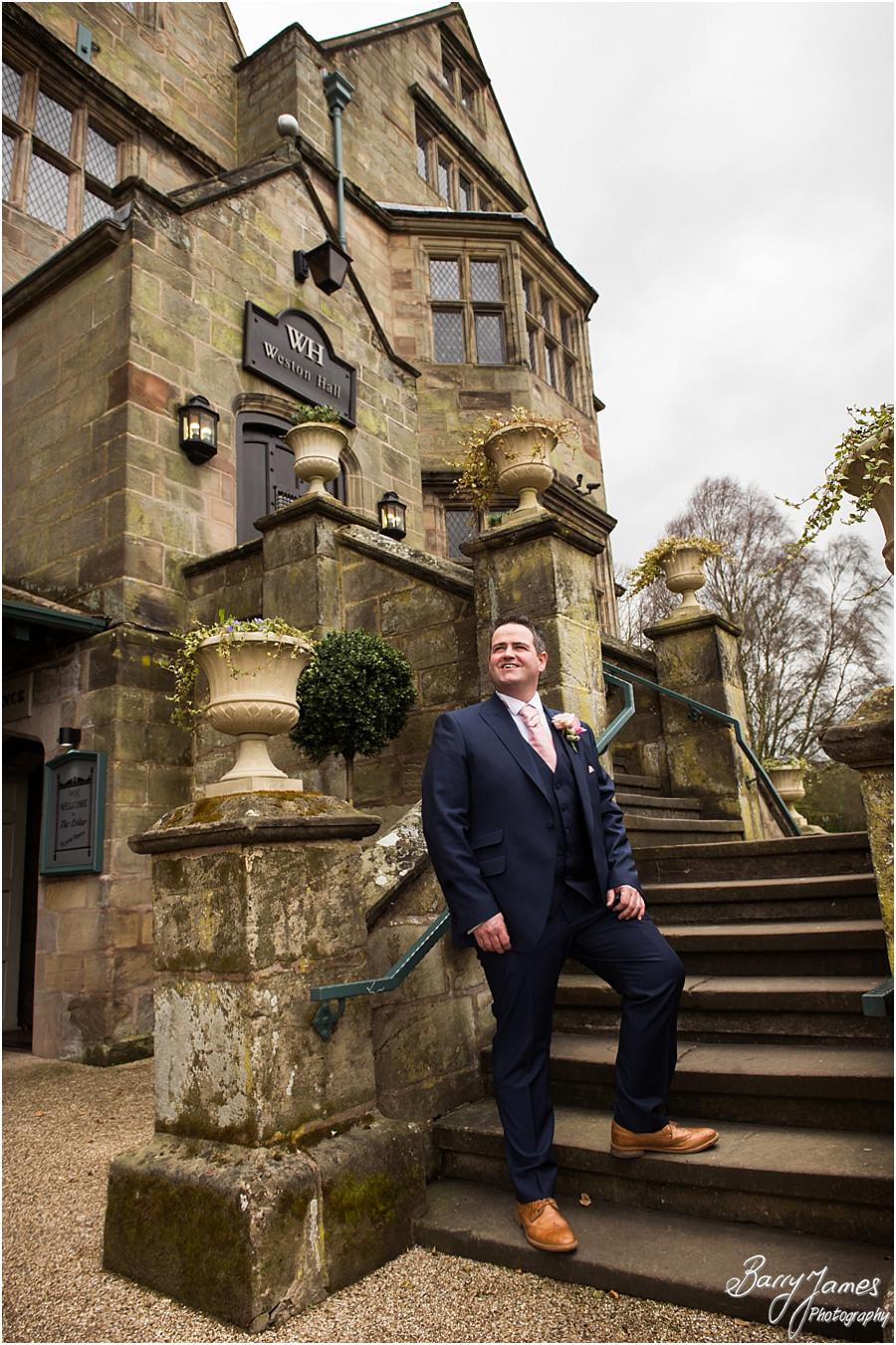 Creative and contemporary portraits of groom and ushers at Weston Hall in Stafford by Stafford Wedding Photographer Barry James