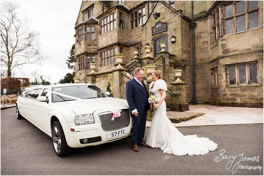 Stunning photographs of the Bridal party as they arrive in style at Weston Hall in Stafford by Stafford Wedding Photographer Barry James
