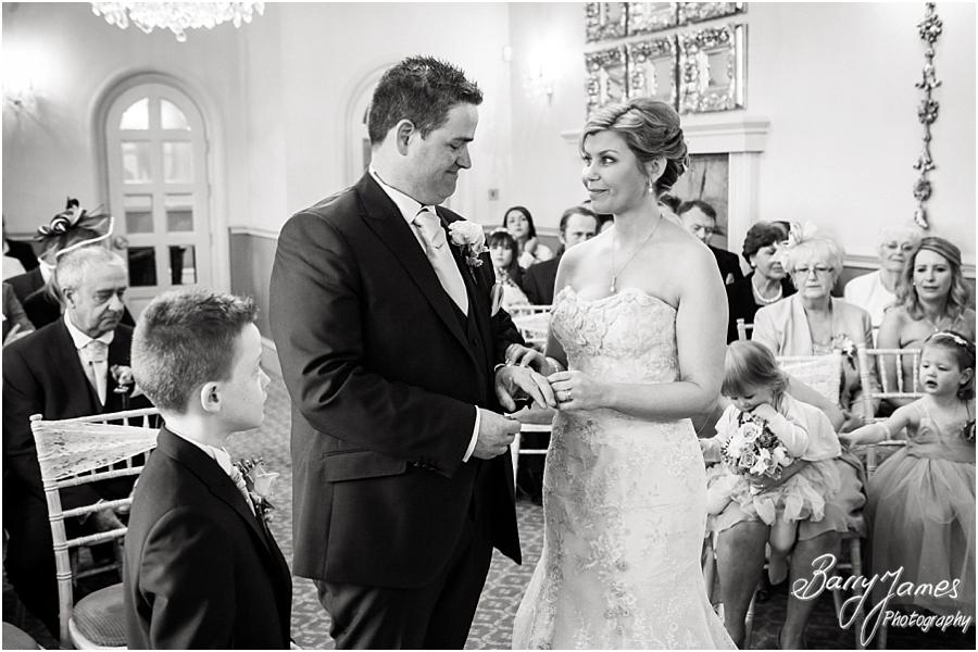 Beautiful photographs of the wedding ceremony at Weston Hall in Stafford by Stafford Wedding Photographer Barry James