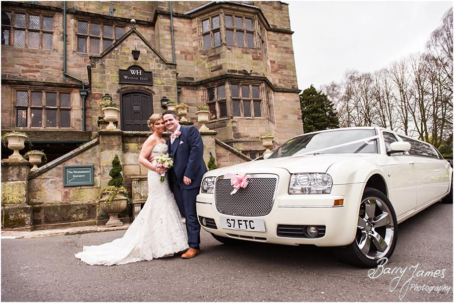 Creative photographs of the bride and groom with their limousine at Weston Hall in Stafford by Stafford Wedding Photographer Barry James