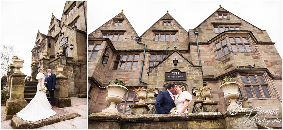 Creative natural portraits of the Bride and Groom around the gardens of Weston Hall in Stafford by Stafford Wedding Photographer Barry James