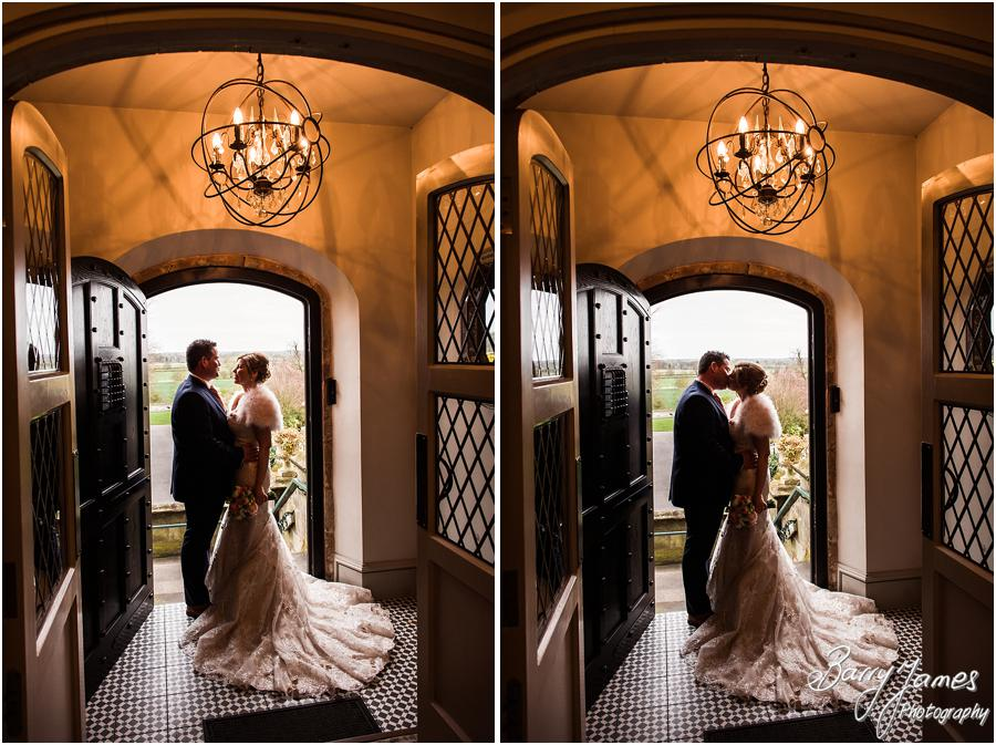 Beautiful silhouette of Bride and Groom at Weston Hall in Stafford by Stafford Wedding Photographer Barry James