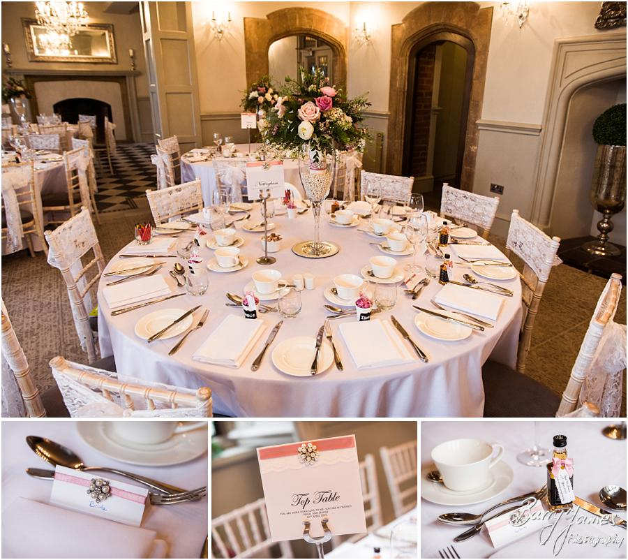 Stunning touches to a beautiful setting for the wedding breakfast at Weston Hall in Stafford by Stafford Wedding Photographer Barry James