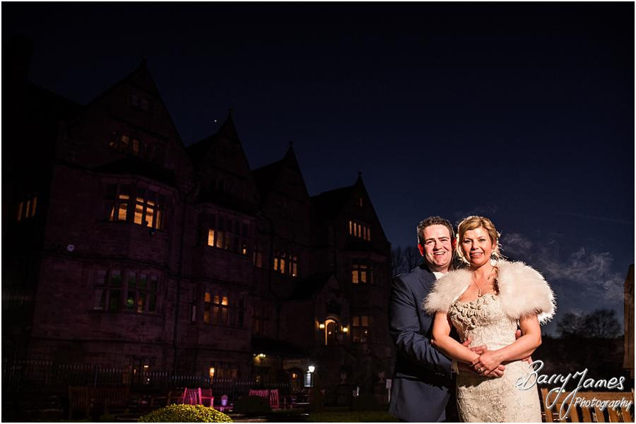 Creative night time portraits at Weston Hall in Stafford by Stafford Wedding Photographer Barry James